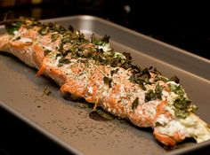 Salmon stuffed with goat cheese. Easy peasy and delicious.