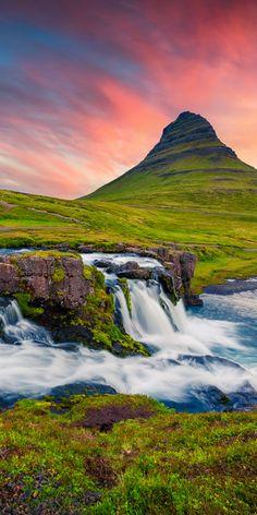 Mount Kirkjufell With Kirkjufellsfoss Falls, Vesturland, Iceland