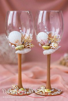 Sea wedding wine glasses beige and white toasting by DiAmoreDS