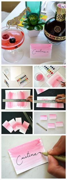 Make the ladies feel special with these adorable spring inspired watercolor name cards . In partnership with Chambord US Diy Name Cards, Table Name Cards, Diy Cards, Wedding Name, Wedding Cards, Diy And Crafts, Paper Crafts, Wedding Planning Tips, Wedding Stationery