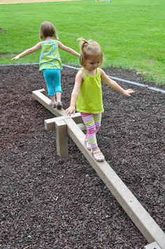 Develop balance and coordination through play on the outdoor preschool playground. The Adventurous Child's unique Tri-Level Balance Beam provides children with a level surface, a step up or down, and an inclined plane all within the same preschool balance beam. The ability to step from narrow beam to narrow beam requires a greater skill level than just walking on a standard preschool balance beam. This outdoor balance beam is designed to reach from ground level to 12 inches off the ground.
