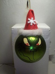 handpainted grinch ornament by KathysCraftCreations on Etsy, $9.99