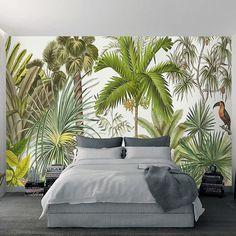 3D Wall Mural Wallpaper Tropical Plant Green Coconut Trees Woodpecker Backdrop Wall Paper Restaurant Living Room Papel De Parede #Affiliate