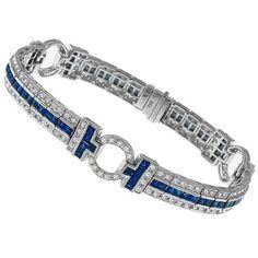 Art Deco Style 4.00ct Square Step Cut Sapphire 2.00ct Round Cut Diamond 18k White Gold  Bracelet
