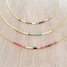 Multicolor Thin Double Strand Necklace : celui du milieu !