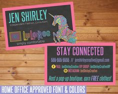 LuLaRoe Business Cards, Chalkboard Unicorn Design, Customized Cards, Home Office Approved, Chalkboard Unicorn LuLaRoe, LuLaRoe Marketing