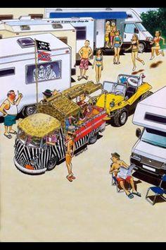 Bus Vw Bus, Vw Volkswagen, Beach Camper, Vw Dune Buggy, Hot Vw, Bike Illustration, Combi Vw, Beach Buggy, Car Drawings