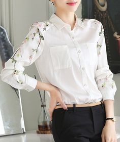 Elegant Shirt Collar Long Sleeve Floral Print Chiffon Blouse
