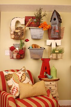 Love this idea of using the baskets like this and then you could change the fillers out to match the season...The Black Goose Design's Portfolio.