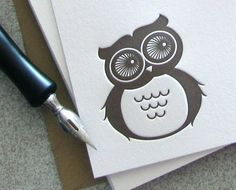 Owl Cute Letterpress Note Card Set