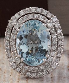 ESTATE 14.68CTW NATURAL BLUE AQUAMARINE AND DIAMOND RING 14K SOLID WHITE GOLD #Cocktail