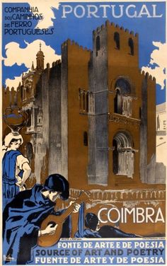 Portugal Coimbra 1930s - original vintage poster by Alberto Souza listed on AntikBar.co.uk