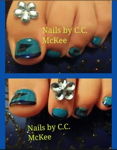 Here is my daughters nails not to fond of her team she picked but we used NFL Carolina Panthers stickers w/a solid blue and a shimmery dark blue tip