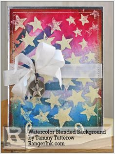 Blended Watercolor Background by Tammy Tutterow   www.rangerink.com