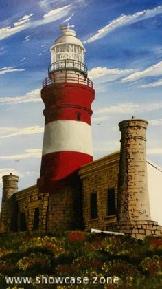An original acrylic painting of the Cape Agulhas lighthouse.  This lighthouse was built in 1849.  The design is based on the Pharos of Alexandria; one of the seven wonders of the world.  It is situated within the Agulhas National Park, close to the southern tip of Africa about 2,5hrs drive from Cape Town.  Size: 840 x 1220mm