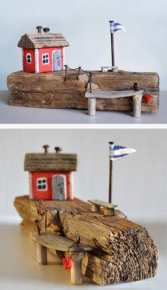 Christine Grandt - Treibholzkunst, maritime Geschenke, Miniaturen, Skulpturen aus Schwemmholz und Metallsammelsurium