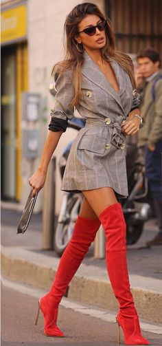 Hot Outfits, Fashion Outfits, Womens Fashion, Red Boots, Women Legs, Beautiful Legs, Beautiful Women, Thigh High Boots, Occasion Dresses