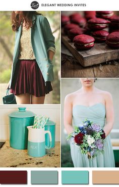PANTONE COLOR OF THE YEAR 2015-chic vintage marsala and teal wedding color ideas 2015