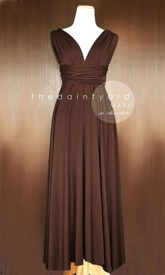 MAXI Chocolate Bridesmaid Convertible Dress Infinity Multiway Wrap Dress Wedding Dress Brown Full Length
