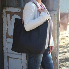 Bolsos de asa larga -  Bolso shopping bag impermeable - Negro -Maxibolso - hecho a mano por LoLahn-Handmade en DaWanda