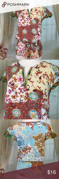 Julie Mango Multi Colored Short Sleeved Blouse Super cute multi colored short sleeve blouse. Ties at the hip. 100% cotton. Size M.  Bust measured flat armpit to armpit 18 inches, length 27 inches.  TP413 LOC-13 Julie Mango Tops Blouses