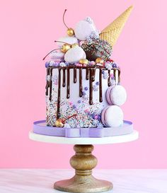 Love the golden cherries and purple icing!