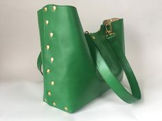 Leather shoulderbag lined with leather