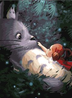 [Visit to Buy] No Frame Hayao Miyazaki Totoro DIY Painting By Numbers Kits paintings for living room wall Coloring Painting Art Studio Ghibli, Studio Ghibli Films, Hayao Miyazaki, Anime Kunst, Anime Art, Images D'art, My Neighbor Totoro, Oil Painting On Canvas, Oil Paintings