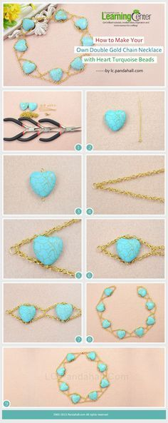 How to Make Your Own Double Gold Chain Necklace with Heart Turquoise Beads. You could use any type of bead and chain.