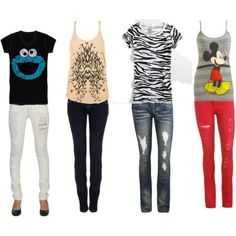 Back to school outfits for girls. Would need a jacket for the tanks!