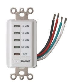 Woods 59007 Decora Style 30-15-10-5 Minute Preset Wall Switch Timer, White, 30-Minute