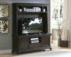 """2 pc Inglewood collection deep cherry finish wood TV entertainment center TV stand with top unit. This set includes the TV stand with top unit. Measures 66.5"""" x 21"""" x 78"""" H. TV stand measures 66"""" x 21"""" x 28"""" H. Some assembly required."""