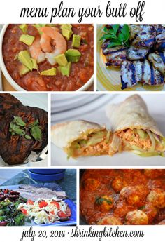 Menu Plan Your Butt Off. A weekly menu plan full of delicious, healthy recipes including complete nutritional information + WWPP. www.shrinkingkitchen.com #menuplan #healthy #diet