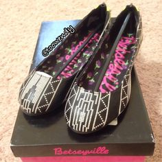 Betseyville Hannah Ballet Flats New in original box ! Betsey Johnson style-like in black and white with spikes neon yellow accents behind the heels ! Only selling , no trade ! Thanks for shopping @toowendy !  Betsey Johnson Shoes Flats & Loafers