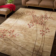 Adding luxury and character to your home is very easy with this Summerfield floral area rug. Densely woven from premium-quality Opulon yarn, this beautiful rug is sturdy enough to easily withstand the strains of everyday foot traffic.