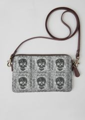 """Grainy Metal Pyre"" statement clutch bag featuring original art designed by artist Elissa Dawn Shakal.  Custom-made/printed to order. Canvas/leather accents.  7.75"" W x 4 5/8"" H"
