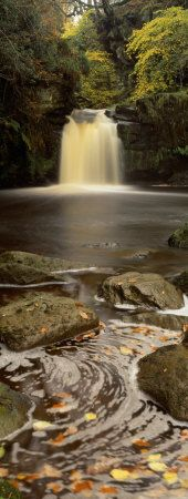 Waterfall in a Forest, Thomason Foss, Goathland, North Yorkshire, England, United Kingdom