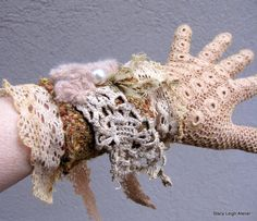 Upcycled Lace & Woven Gloves - Etsy