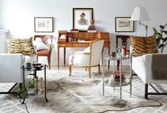 Neutral living room with tasteful animal prints