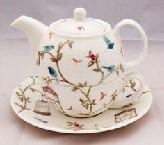 Fine Bone China Tea for One set in the Bird Cage Design by Nina Campbell David Bradbury