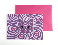 This cute cat Valentines card will melt the heart of any cat lover in your life. SPECS: - Postcard Size: A6 (6.25 x 4.5 one sided postcard) - Paper Type: Poptone grapesicle 100C - French Paper Co. - Back of postcard: Blank - Envelope size: A6 (6.5 x 4.75) Fuchsia Card is safely shipped in a protective sleeve within a sturdy cardboard flat envelope.  This card design also comes in 3 other color variations: purple & pink, red & pink, and red & creme. See other listings for other colors.  *I…