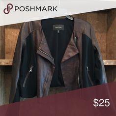 Karen Kane Faux brown/blk leather jacket Faux brown/blk leather jacket. NWOT-never worn Karen Kane Jackets & Coats Puffers