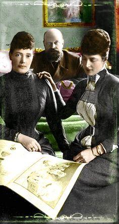 Alexander III, Emperor of Russia, his spouse Empress Marie Feodorovna and her sister Queen Alexandra of the UK in Copenhagen, Denmark; 1880s