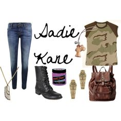 I think Astrid would wear these clothes. Sadie Kane (The Kane Chronicles by Rick Riordan) Camo Fashion, Teen Fashion, Kane Chronicals, Sadie Kane, Red Pyramid, Solangelo, Fandom Outfits, Fandom Fashion, Casual Cosplay