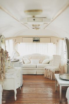 ❥ Dreamy White Glamper~ #airstream #vintage #wedding getting ready area