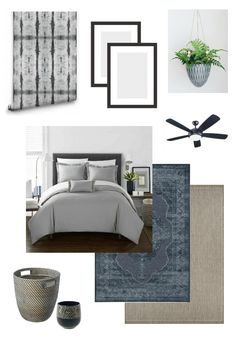 Beautiful design plans for a modern master bedroom retreat. LOVE the grey, black and blue palette!