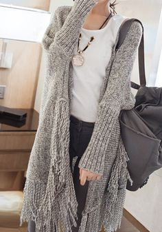 comfy oversize fringe cardigan #fall #fashion #trend
