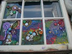 Mixed Media Mosaic on Old, Chippy Window - glue tinted glass bits and baubles, beads and old broken jewelry to a salvaged window for a unique stained glass window like no other! There's no right or wrong way to do this: just make sure to use or anoth Mosaic Crafts, Mosaic Projects, Mosaic Art, Mosaic Glass, Broken Glass Crafts, Broken Glass Art, Mosaic Windows, Stained Glass Windows, Mosaic Madness