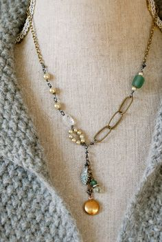Elle. romanticpearlglass beadeddrop necklace. by tiedupmemories, $45.00