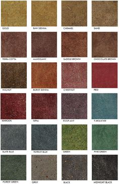 Stained Polished Concrete Color Chart